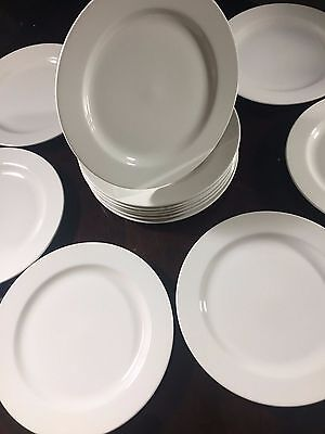 """Set Of 15 HOMER LAUGHLIN CHINA 12 1/4"""" Rounded Beige LEAD FREE Dinner Plates"""