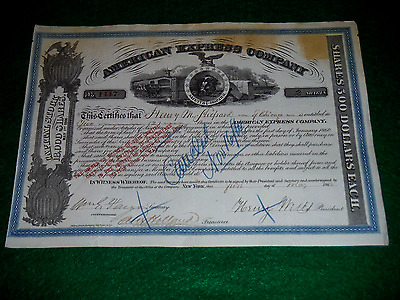 AMERICAN EXPRESS Co. 1866 stock certificate autographed signed by WELLS & FARGO