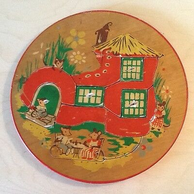 """Vintage & Charming 1950's Round 7.5"""" Wooden Puzzle- Made in Holland-Mice in Shoe"""