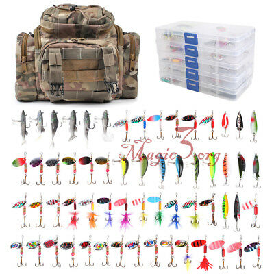 Fishing Tackle Bag Loaded 60 Spinners Spoon Soft Lures Crankbait Shad 5 Tray Box