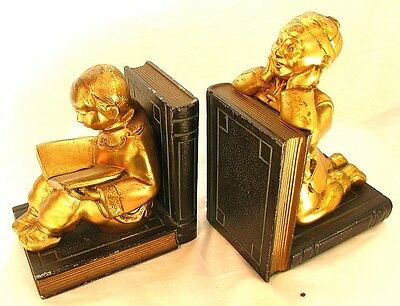 GOLD DORE BOOKENDS *CHINESE BOY & GIRL* made by RONSON c.1920'S