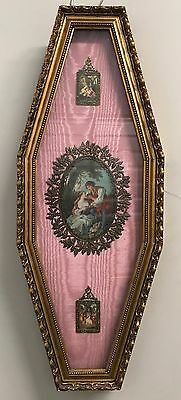 "Antique Framed Fabric Wall Art / Shadow Box Under Glass - 26"" x 10"""