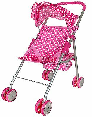Baby Doll Stroller Carriage Fold Wheel Girl Mommy Toy Deluxe Pink Buggy Play Fun
