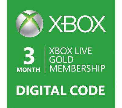Microsoft 3 Month Xbox Live Gold Membership Subscription One / 360 Code EMAIL