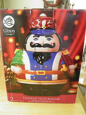 Gibson Holiday Nutcracker Cookie Jar - New In Box - Bright Holiday Colors