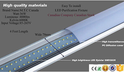 LED T8 4 Feet Purification Fixture (Shop Light/Home Light )36W 6000K 4000Lm