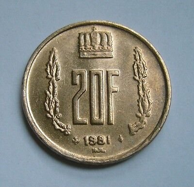 Luxembourg 20 Francs 1981, Ruler: Jean