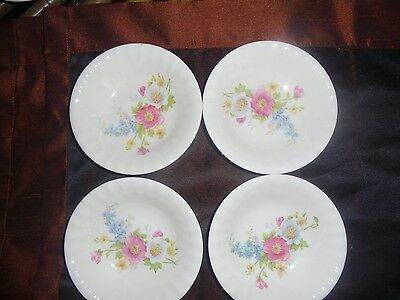 "Semi Vitreous Edwin m. Knowles set of 4 Bowls 5.5""  Flower Pattern"