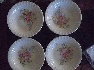 "Semi Vitreous Edwin m. Knowles set of 4 8"" bowls flower Pattern"