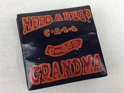 "Vintage Leather Coin Holder Embossed ""Need a Hug? Call 1-800-Grandma"" -India"