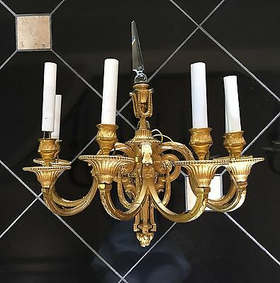 Pair Antique French SOLID Brass Sconces