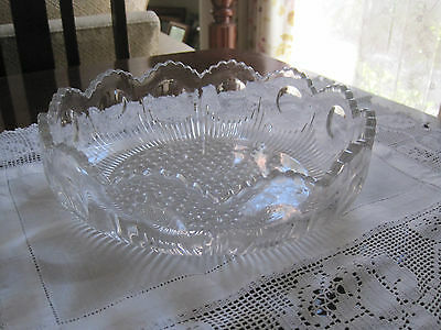 Beautiful Large Us Glass Manhattan Depression Glass  Shallow Bowl