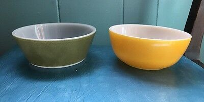 Vintage Federal Milk Glass & Green Cereal Bowl & Yellow Bowl