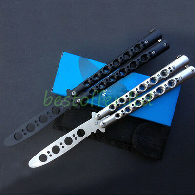 Stainless Steel Practice Butterfly Knife Balisong Knife Toy Dull Tool w/ Sheat