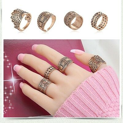 Hot Vintage Midi Ring Set For Women Hollow Design Ancient Rings Punk Jewelry
