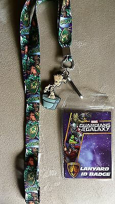 Guardians of the Galaxy Groot Lanyard Keychain ID Badge Holder, Rubber Charm