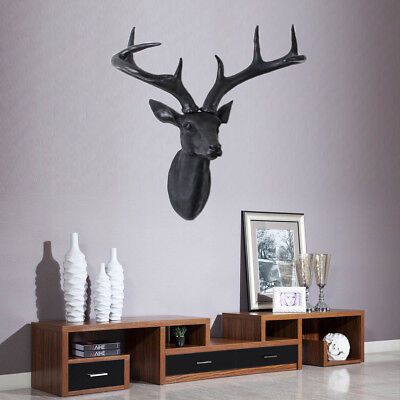 "Wall Mounted Black Stags Deer Head With Antlers Home Decro - 12.6""W X 14.6""H AU"