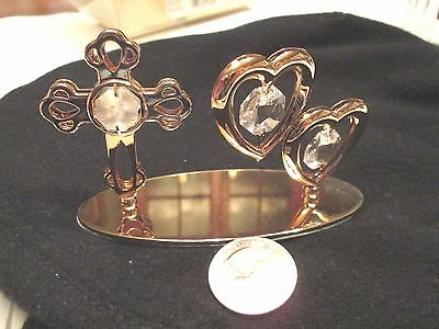 MASCOT Crystal Delight 24 K Gold Plated Austrian Crystal HEARTS AND CROSS J13
