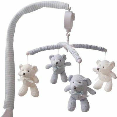 NEW Living Textiles Baby Musical Cot Mobile Set Bear White/Blue