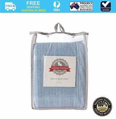NEW Living Textiles Cot Cellular Baby Blanket Blue