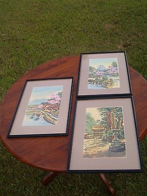 Vintage Chinese Silk Paper Watercolor Paintings Signed in Frame Landscapes Set 3