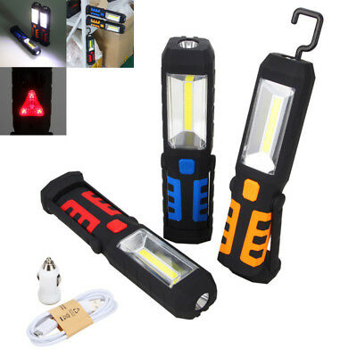 COB LED 360º Pivoting Magnetic Light Car Garage Rechargeable Torch Home Lamp FF