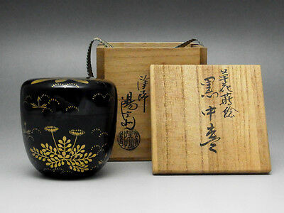 Natsume Makie Gold Lacquered wooden Tea Caddy Japanese Tea Ceremony w/Box #1028