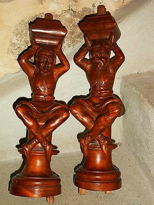 Gorgeous  Pair of Vintage walnut Figures/Support Posts Pillars Architectural