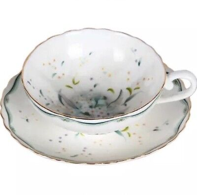 Breakfast Afternoon Tea Set/  Cup And Saucer/ Green Flower Pattern