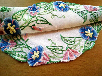 Stunning Morning Glory / Trumpet flowers~ Large hand embroidered Doily