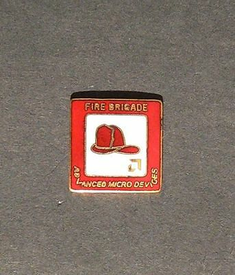 """Vintage 1980s AMD Fire Brigade Pin Advanced Micro Devices Button 5/8"""" Badge Dept"""