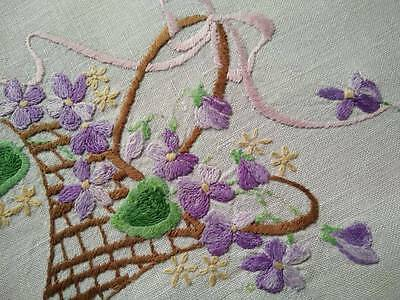 Basket of Purple Violets & Bow ~ Heavily Hand embroidered Centrepiece
