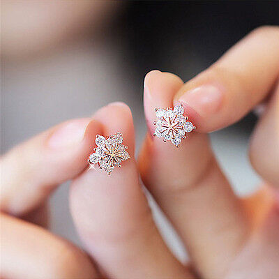 1Pair Fashion Women Crystal Rhinestone Ear Stud Snow Flower Earrings Jewelry