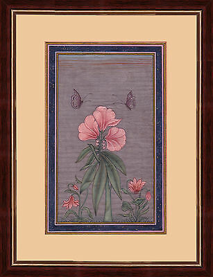 Mughal Period Flower Indian Miniature Painting on Old Handmade Paper
