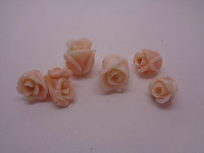 6 Coral Carved Roses Jewellery Making Beads Craft Wedding Party Prom Fest