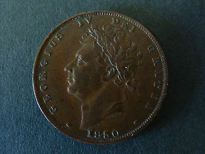 1830 George Iv Copper Farthing, Nice Grade
