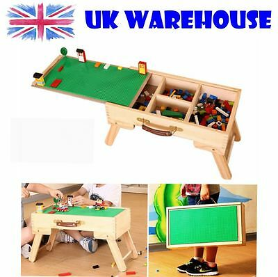 UK Duplo Play Table Wooden Portable Folding Table With Chalkboard & Storage
