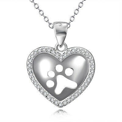 """Celti Pet Dog Puppy Cat Paw Print Crystal Heart Necklace 925 Sterling Silver 18"""""""