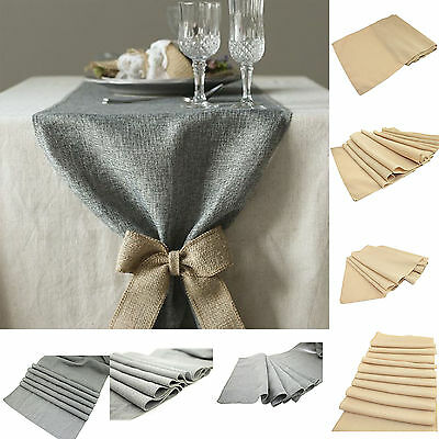 Retro Linen Burlap Natural Jute Table Runner Wedding Event Table Decor 3 Sizes