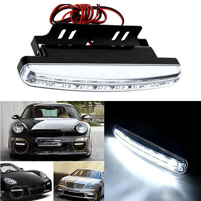 Popular 2x White 8LED Car DRL Daytime Running Fog Driving Light Bumper Head Lamp