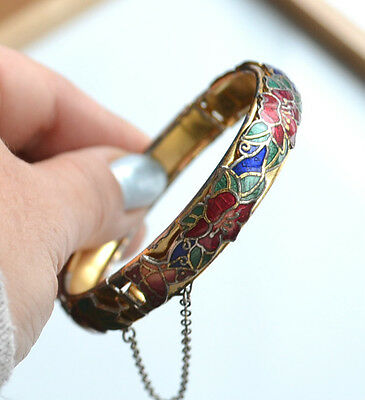 Vintage Chinese Cloisonne Champleve Flowers Metal Bracelet With Safety Chain