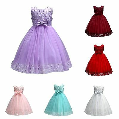 Toddler Kid Baby Girl Flower Princess Party Pageant Wedding Bridesmaid Bow Dress