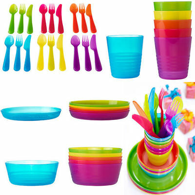 Kalas Children's Kids Plastic Bowls Plates Cups Cutlery Set Perfect Gift Party