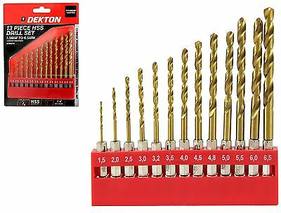 "Dekton 13pc HSS Drill Metal Bits Set Titanium Coated 1/4"" Hex Fits Impact Driver"
