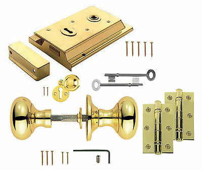 Polished Brass Victorian Rim Lock & Knob Set Options +Hinges, Keyhole Covers