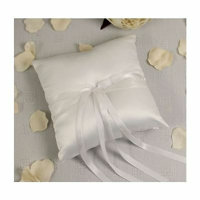 CONTEMPORARY WHITE BOXED WEDDING RING CUSHION PILLOW 19x19cm WITH DOUBLE RIBBON!