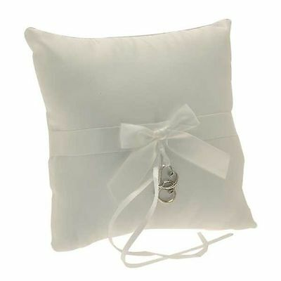 LIGHT IVORY BOXED WEDDING RING CUSHION PILLOW 19x19cm WITH SATIN BOW & HEARTS!