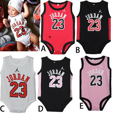 New BABY BOYS SPORT JORDAN 23 ROMPER BABY BABYGROWS SUMMER PLAYSUITS CLOTHES A+