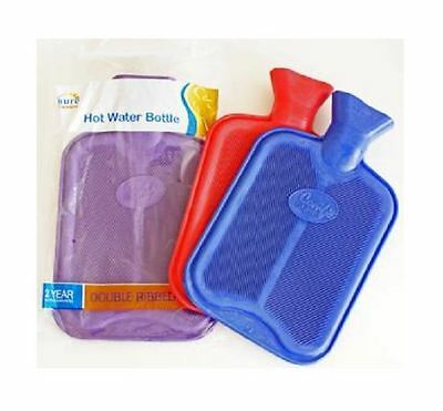 Rubber Double Ribbed Hot Water Bottle - Red 1 2 3 6 12 Packs