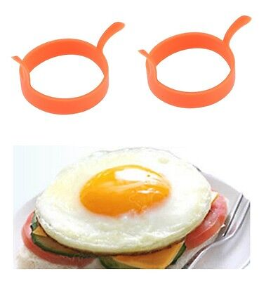 2X Silicone Pancake Fry Egg Ring Frying Fried Round Mold Kitchen Gadget Tool New